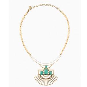 STELLA & DOT Turquoise & Gold Sunray Pendant